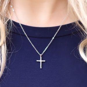 Silver CZ Cross Necklace